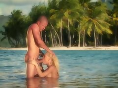 Horny couple is having hot genital interaction in far down