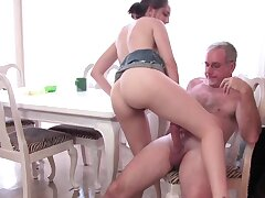 Caring caretaker teaches stepdaughter how to be penetrated
