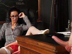 Skinny wordsmith Kim Joyless enjoys watchin her boss masturbate