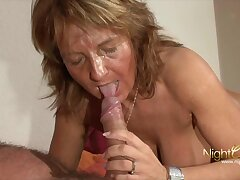 Old mature grandma on touching Big tits milking cum from her hubby