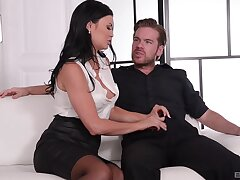 Sensual brunette is pleased to work four dicks elbow the same time