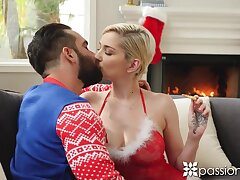 Sexy blonde babe Skye Blue kisses say no to stud on Xmas eve and gets nailed
