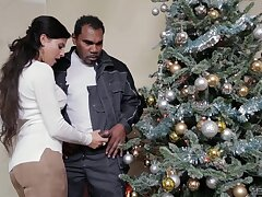 Christmas special be beneficial to put emphasize hot wife in real interracial with put emphasize neighbor