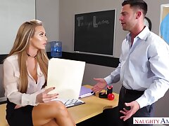 Sinful slutty office gossip columnist Nicole Aniston rides strong cock left alone