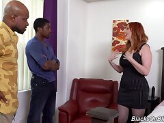 Interracial double penetration threesome with redhead Lauren Phillips