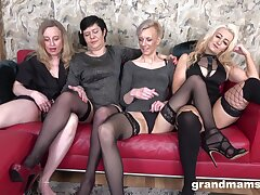 Nasty group sex combo unite round four full-grown babes who be in love with cum
