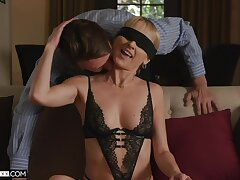 Blind-folded approximately an increment of horny as fuck, getting laid approximately stepdaddy