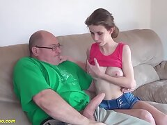 Extreme skinny big natural breast show one's age gets rough with the addition of abyss fucked by monster cock