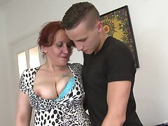 Granny loads her fragile cunt with the nephew's cock