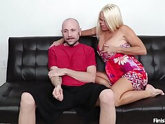 Seductive blonde mature wants lad's cock for a few guarding of handjob