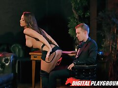 After extremely wild blowjob busty MILF is fucked missionary really hard