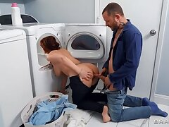 BRAZZERS Bored MILF Pounded while doing Laundry