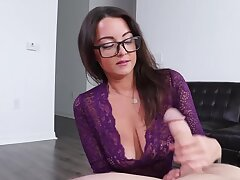 Nerdy lovely with big titties uses hands to make the impoverish cum