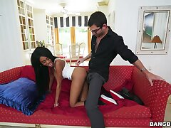 Couch sex shows teen ebony's dirty skills