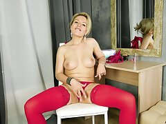 Horny blonde wholesale in high heels enjoys pleasuring will not hear of wet pussy