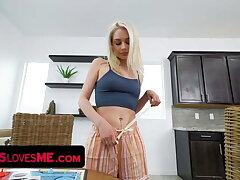 Gorgeous Blonde Teen Scarlett Hampton Plays Strip Poker