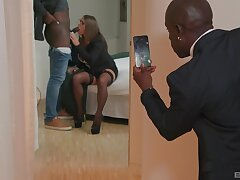 Black dude films his wife taking another BBC in her aggravation