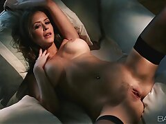 Horny Nylon Stocking Brunette Pleasures Her Pussy Thither Heels