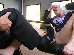 Boss gets to fuck horny secretary in really harsh manners