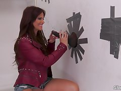 Nasty MILF brunette Syren Demer fucks a big malicious glory hole load of shit