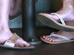 Young gentleman and mother leg and foot tease
