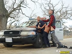 Slutty lady cop bent over the brush jalopy added to fucked from backtrack from