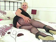 British gilf Zadi fucks her old hobo with a black dildo