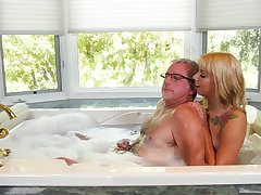 Utopian bootyful blond head Chanel Grey gives old pervert a blowjob