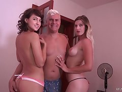 Blonde and brunette fondle each pinch-hitter and realize their snatches fucked