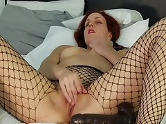 Masturbation in fishnets