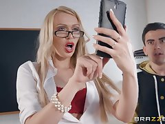 A student loses virginity with hot big boobed teacher Amber Jayne