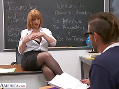Lewd coupled with rapacious MILFie tutor Sara Jay lures stud to be fucked well