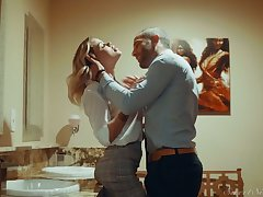 Blond hottie Jessa Rhodes is having crazy quickie nigh her BF in come off c come on