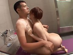 Busty Asian Babe Boob Job and Ride Hard Horseshit Partner on Bathroom Astonish