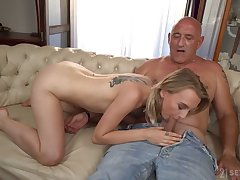 Really wild outlook haired cowgirl Lily Beam flashes natural jugs and rides dick