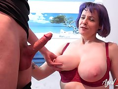 Hot and busty mature lady sucked hard load of shit got fucked hardcore away from youngster