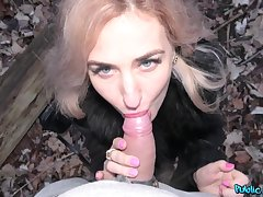Research dick licking Dayana Ice sits overhead a stranger's hard penis