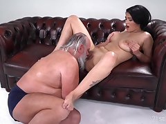 Busty young Ava Black hard fucked by a senior bloke