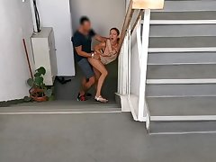 Horny couple caught by the surveilling camera fucking on the situation stairs