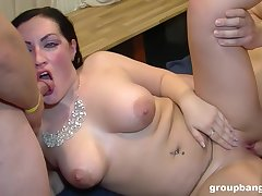 Hammer away men fuck her tiny holes restless increased by she's obsessed