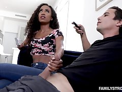 Blowjob expert Demi Sutra gives a sneaky blowjob to her white stepbrother
