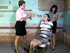 Lesbian BDSM Chained and Electro Painful MILF Slave