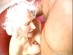Blonde mature adores to blow a hard penis before together with after rough intercourse