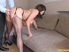 Busty adult Tara Holiday in stockings getting fucked from in back of surreptitiously