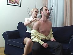 Blonde woman leaves younger man to work her pussy right