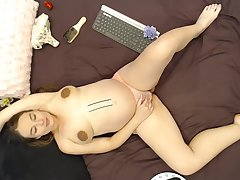 BIG pregnant Beauty window-dressing her viscera and HUGE tits