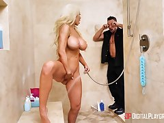 Big ass Latina mom, crazy shower sex with step little one