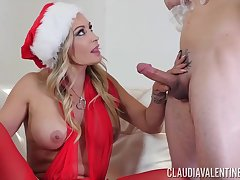 Claudia Valentine is wearing erotic, Christmas outfit while having dampness sex with her new suitor