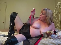 In Lingerie & Boots, Smoking After a long time You Stroke - TacAmateurs