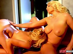 Close up integument of glamour stars Katie Summers & Sadie Swede having sex
